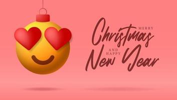 cartão de feliz natal com coração sorriso rosto emoji vetor