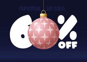 banner de grande venda de feliz Natal. banner de venda de natal com 60 por cento de desconto vetor