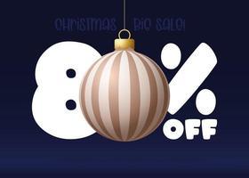 banner de grande venda de feliz Natal. banner de venda de natal com 80% de desconto vetor