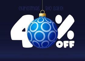 banner de grande venda de feliz Natal. banner de venda de natal com 40% de desconto vetor