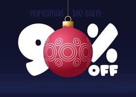 banner de grande venda de feliz Natal. banner de venda de natal com 90% de desconto vetor