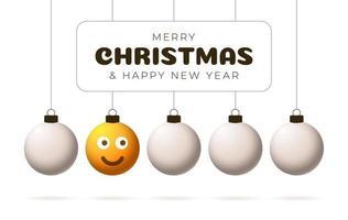 bola amarela de feliz natal com rosto bonito cartão de felicitações vetor