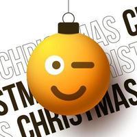 bola de feliz natal com uma cara de emoji sorridente e fofa vetor