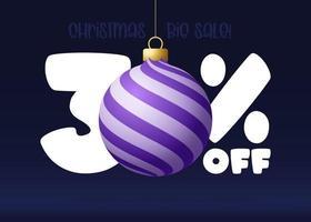 banner de grande venda de feliz Natal. banner de venda de natal com 30% de desconto vetor