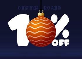 banner de grande venda de feliz Natal. banner de venda de natal com 10 por cento de desconto vetor
