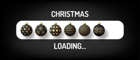 barra de progresso de natal natal carregando bola decorada vetor