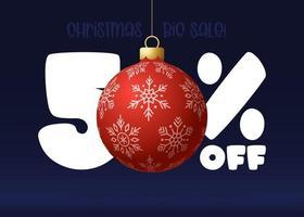 banner de grande venda de feliz Natal. banner de venda de natal com 50% de desconto vetor