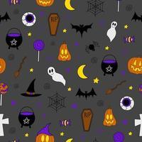 padrão sem emenda de vetor de halloween com elementos assustadores