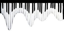 desenho em aquarela de teclado de piano. vetor