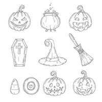 conjunto de halloween - jack, chapéu de bruxa, vassoura, chapéu, doces, caixão, poção vetor