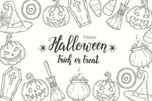 pôster de halloween com jack de abóbora desenhado à mão, vassoura, chapéu, doces vetor