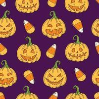 padrão sem emenda com jack de abóbora colorido de halloween vetor