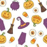 padrão sem emenda com ícones coloridos de halloween vetor