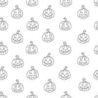 padrão sem emenda com jack abóbora de halloween em estilo de desenho vetor