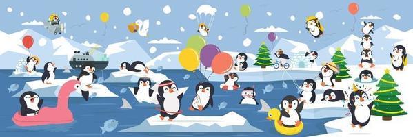 Atividades de pinguins familiares do pólo norte ártico com emoções diferentes vetor