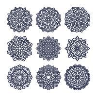 Conjunto de mandalas. Meditação indiana do casamento.
