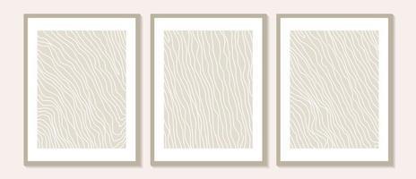 arte de parede abstrata contemporânea na moda, conjunto de 3 gravuras de arte boho vetor