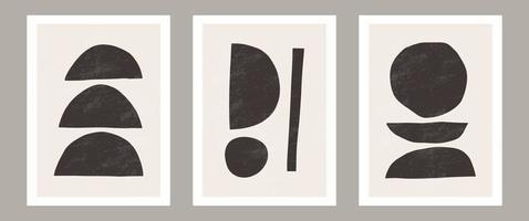 arte de parede abstrata contemporânea na moda, conjunto de 3 estampas de arte boho recortadas vetor