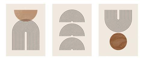 conjunto de impressão de arte minimalista moderna de meados do século com forma vetor