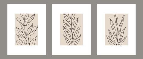 conjunto de pôster botânico de arte contemporânea de parede vetor