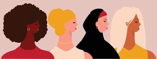 grupo de mulheres de diferentes países. empoderamento dos direitos das mulheres. vetor