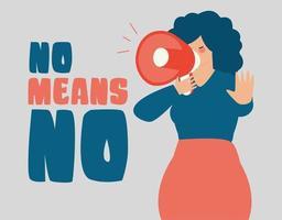 mulher segura um alto-falante e diz não significa não. parar a violência de gênero. vetor