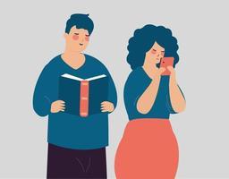 jovem casal representa o conceito de fomo vs jomo. homem feliz lendo um livro. vetor