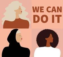 grupo de mulheres diz que sim, podemos fazê-lo. empoderamento da mulher igualdade de gênero vetor