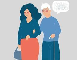 mulher se preocupa com um velho com uma vara. ajuda social sênior. saúde mental. vetor
