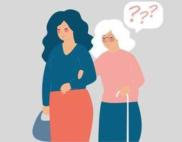 mulher se preocupa com um sênior com vara. alzheimer, perda de memória, saúde mental vetor