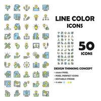 Conjunto de 50 ícones de ícones de linha de design thinking. como lâmpada, caneta, papel. vetor