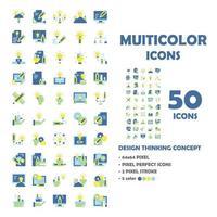 Conjunto de 50 ícones de design pensando ícones multicoloridos. vetor