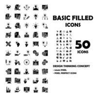 Conjunto de 50 ícones de design pensando ícones sólidos. vetor