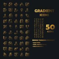 Conjunto de 50 ícones de ícones de gradiente de design thinking. vetor