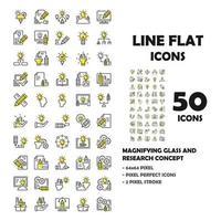 Conjunto de 50 ícones de ícones de linha plana de design thinking. vetor