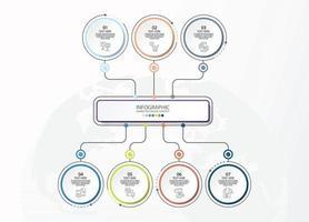 modelo de infográfico de círculo básico com 7 etapas, vetor