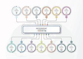 modelo de infográfico de círculo básico com 13 etapas, vetor