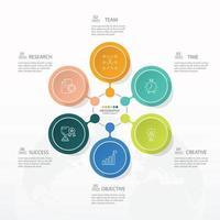 modelo de infográfico de círculo básico com 6 etapas, vetor
