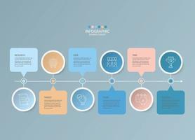 modelo básico de infográfico com 6 etapas. vetor