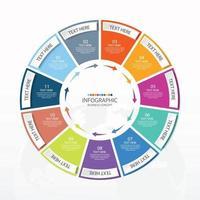 apresentação infográfico de negócios com 11 opções com ícones de linhas finas vetor