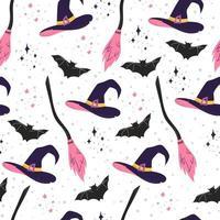 mão desenhada vetor padrão para o halloween. chapéu de bruxa, vassoura e morcego