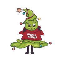 uma árvore de natal feliz com um rosto alegre, olhos sorridentes vetor