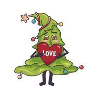feliz apaixonado árvore de natal com rosto, coração vermelho nas mãos vetor