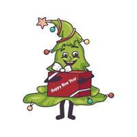 árvore de natal feliz com rosto, pernas e uma caixa de presente nas mãos vetor