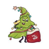 árvore de natal feliz com rosto sorridente e um saco de doces vetor