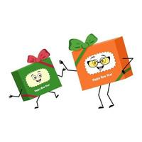 caixa de presente de personagem fofa para o ano novo com laço e emoções alegres, vetor