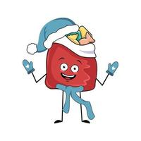 personagem de bolsa vermelha fofa com presentes de ano novo e emoções alegres vetor