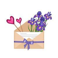 flores de íris em um envelope artesanal vetor