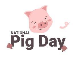 dia nacional do porco. porco rosa com calcanhar e rabo abraços palavra festiva vetor