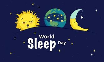 ícones adormecidos do planeta terra, a lua e o sol vetor